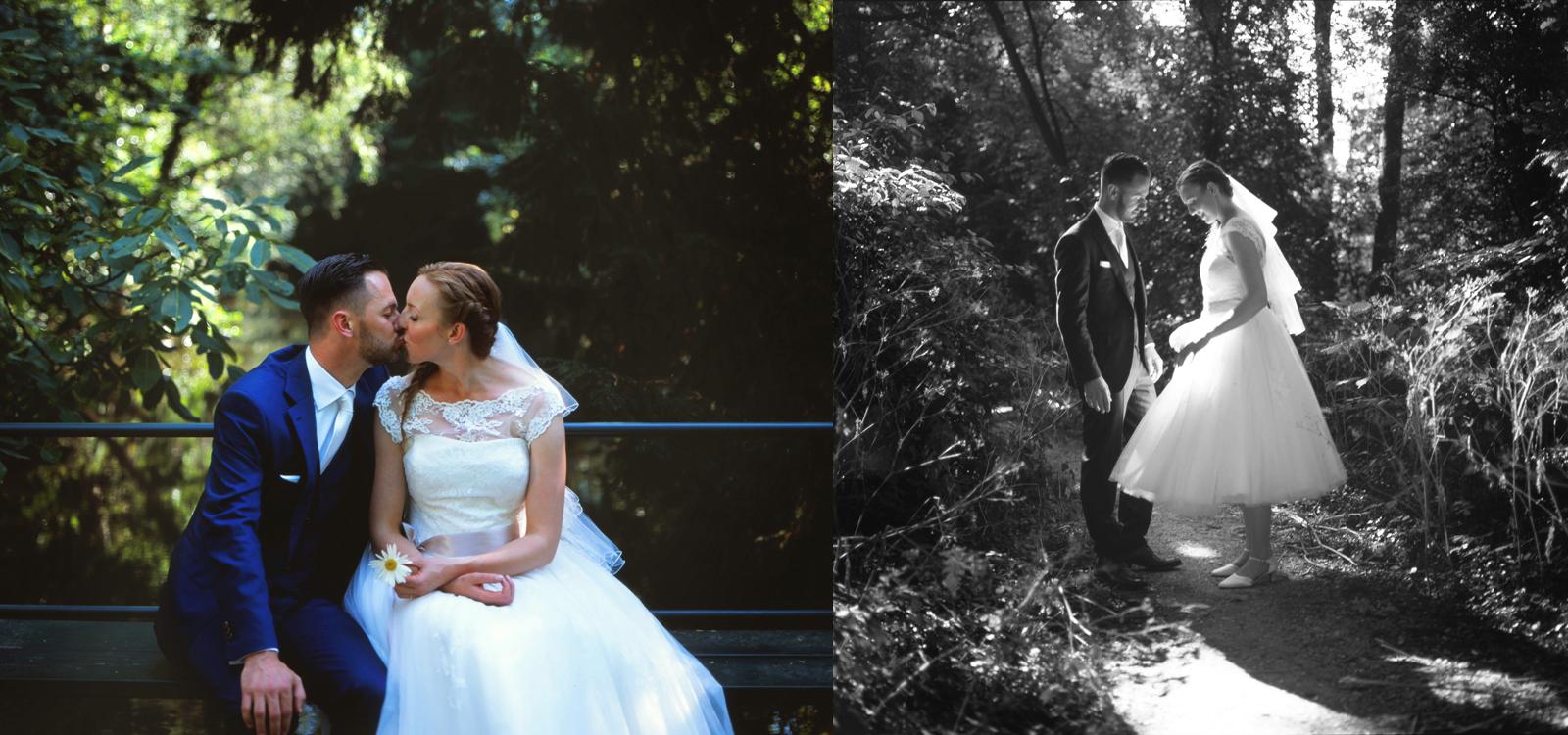 Bruidsportret in het park. Prachtig bruidsportret door een ervaren trouwfotograaf.