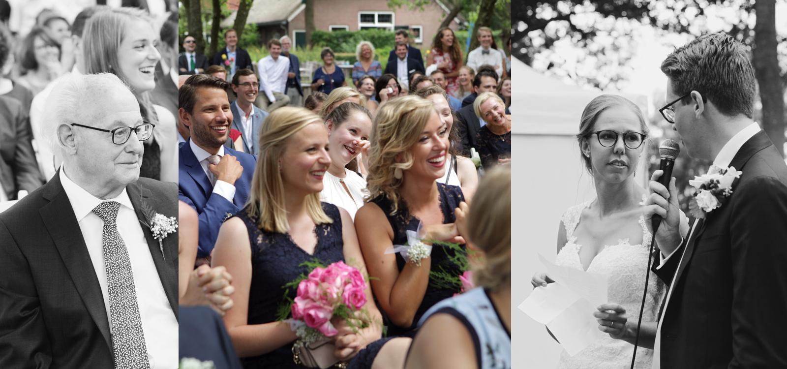 Emotionele huwelijksfotografie. Prachtige foto van een speech.