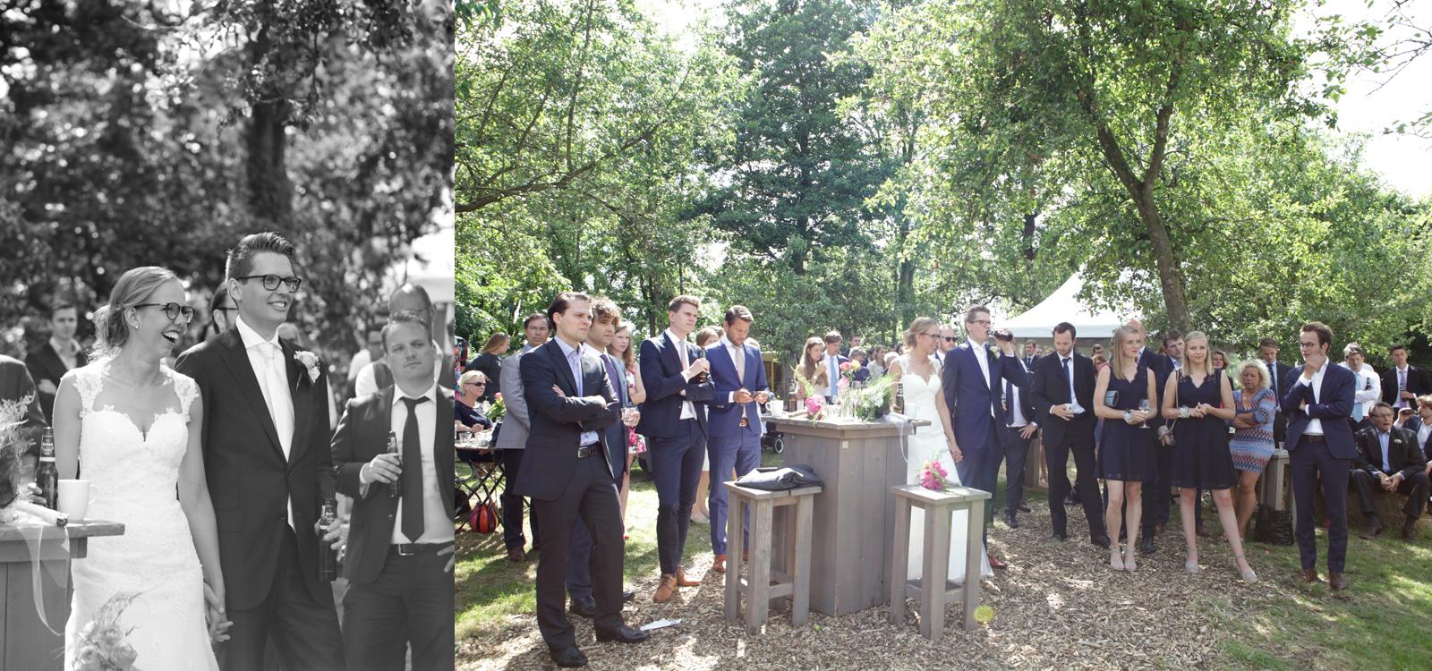Idyllische bruidsfotografie van een bruiloft tussen de bomen.