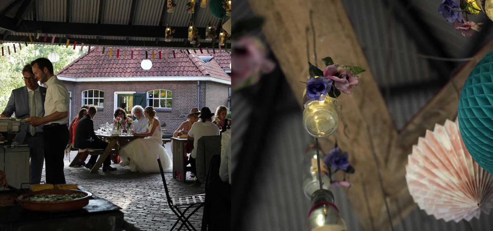 Bruidsdiner buiten. De foto's komen uit een trouwreportage.